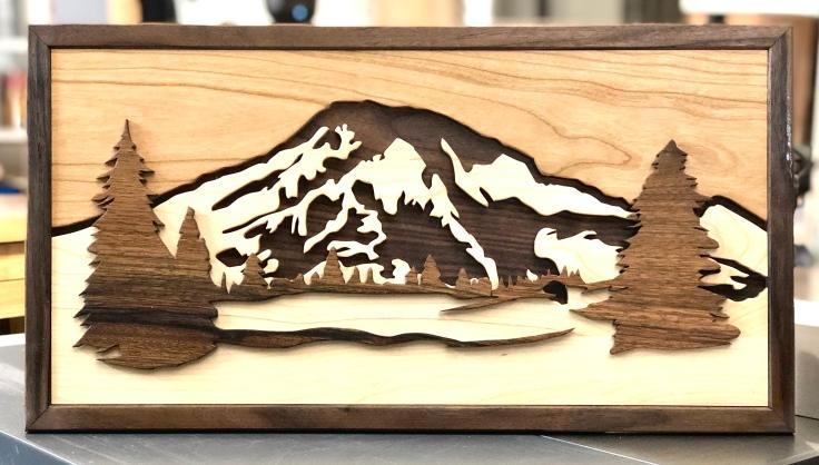 Mount Rainier Woodcut